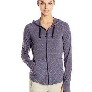 Exofficio blue striped zip up hoodie lightweight L
